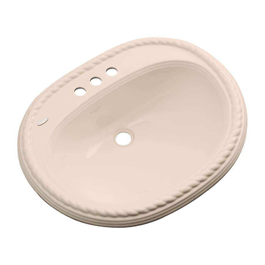 Dekor Manitou Peach Bisque Composite Drop-In Oval Bathroom Sink with Overflow