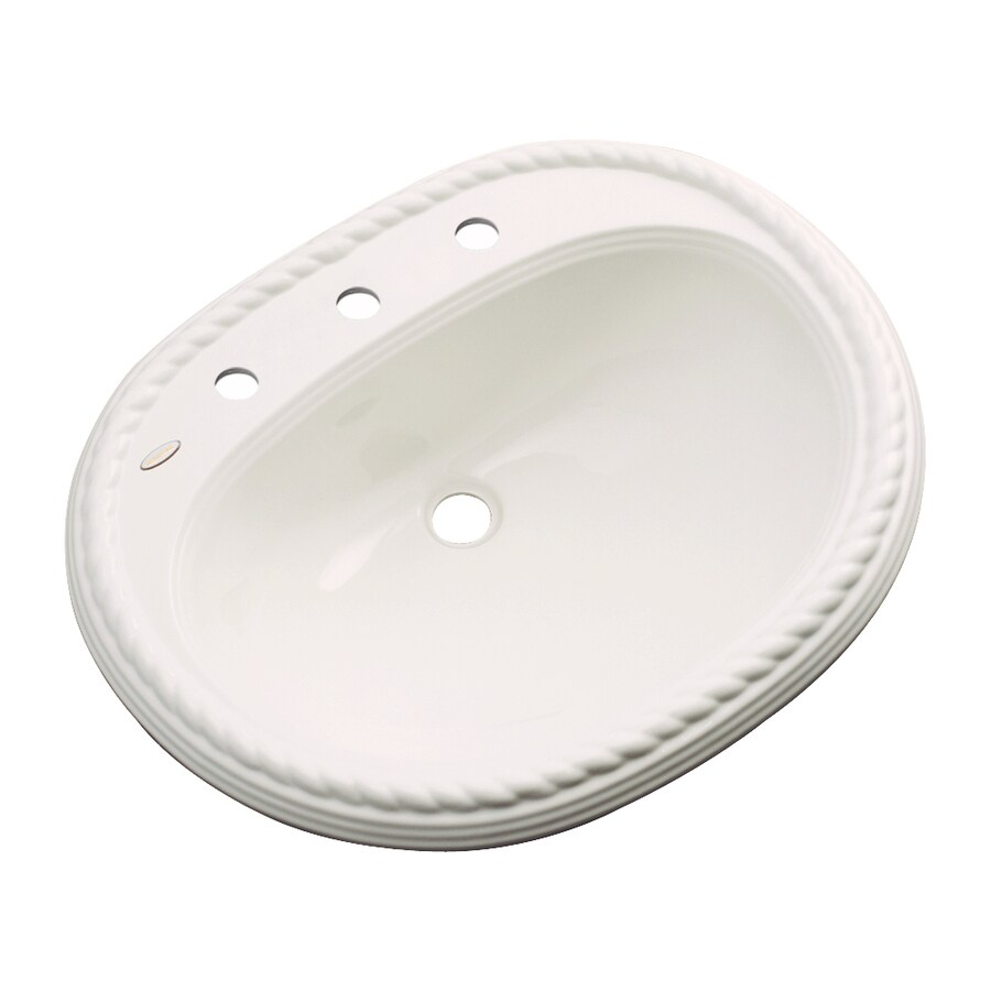 Dekor Manitou Bone Composite Drop-In Oval Bathroom Sink with Overflow