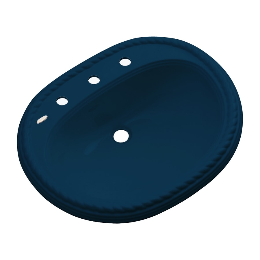 Dekor Manitou Navy Blue Composite Drop-In Oval Bathroom Sink with Overflow
