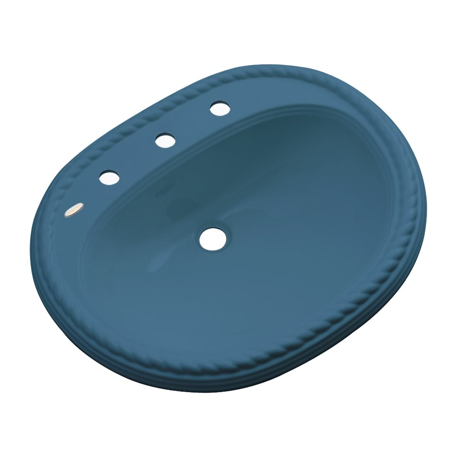 Dekor Manitou Rhapsody Blue Composite Drop-In Oval Bathroom Sink with Overflow