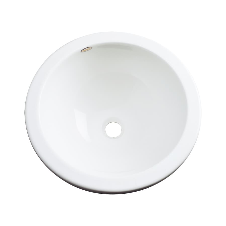 Dekor Perris White Composite Undermount Round Bathroom Sink with Overflow