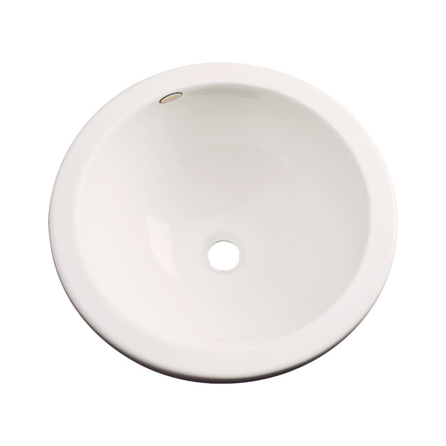 Dekor Perris Bone Composite Undermount Round Bathroom Sink with Overflow
