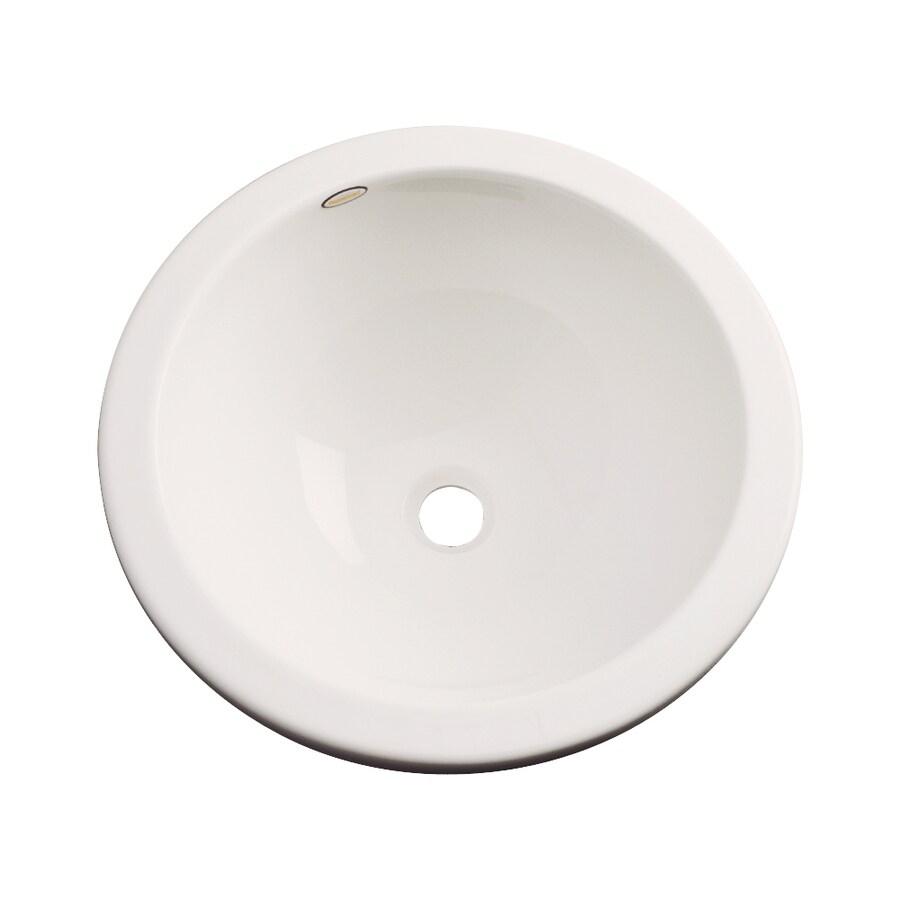 Dekor Perris Almond Composite Undermount Round Bathroom Sink with Overflow