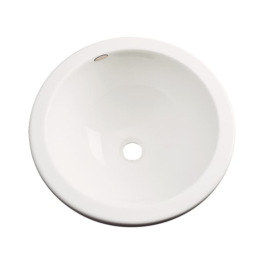 Dekor Perris Biscuit Composite Undermount Round Bathroom Sink with Overflow