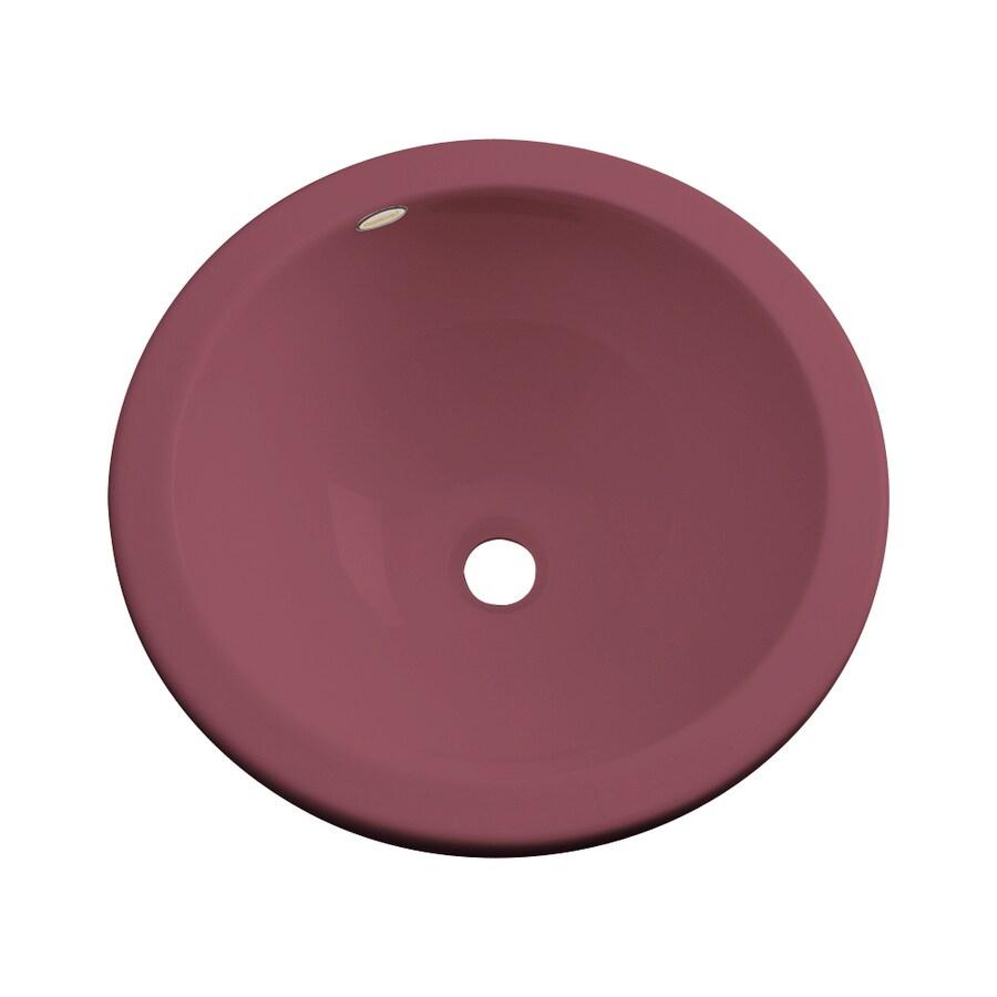Dekor Perris Raspberry Puree Composite Undermount Round Bathroom Sink with Overflow