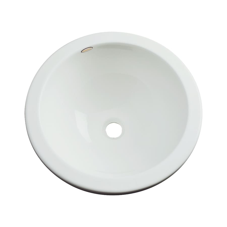 Shop Dekor Perris Ice Gray Composite Undermount Round Bathroom Sink With Overflow At