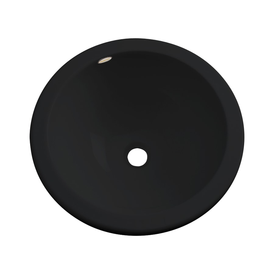 Dekor Perris Black Composite Undermount Round Bathroom Sink with Overflow