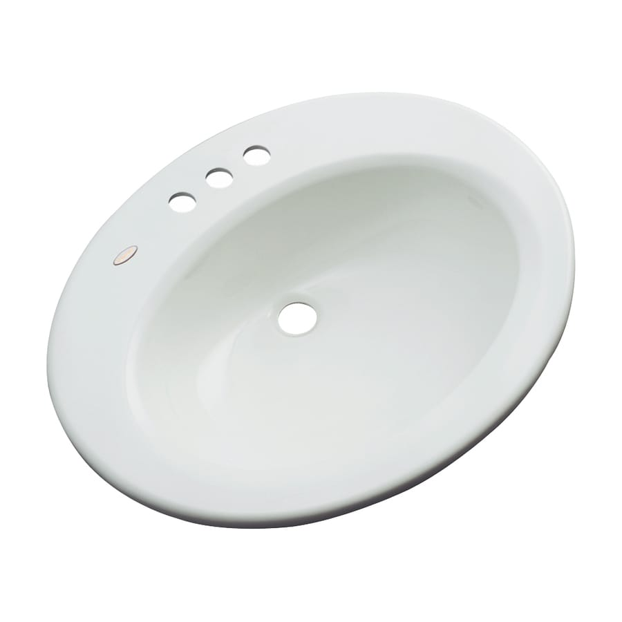 Dekor Avalon Ice Gray Composite Drop-In Oval Bathroom Sink with Overflow