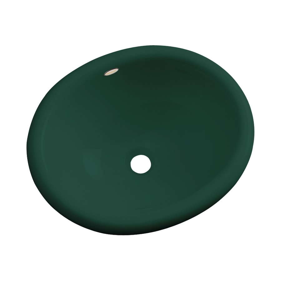 Dekor Costa Green Composite Drop-In Oval Bathroom Sink with Overflow