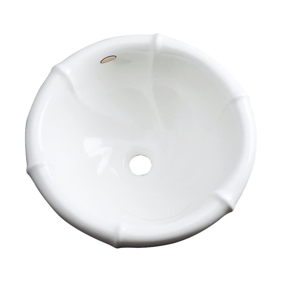 Dekor Siesta White Composite Drop-In Round Bathroom Sink with Overflow
