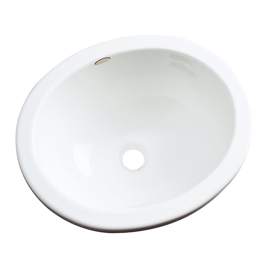 Dekor Victoria White Composite Undermount Oval Bathroom Sink with Overflow