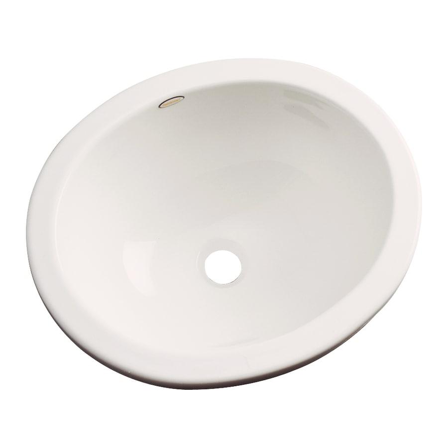 Dekor Victoria Almond Composite Undermount Oval Bathroom Sink with Overflow