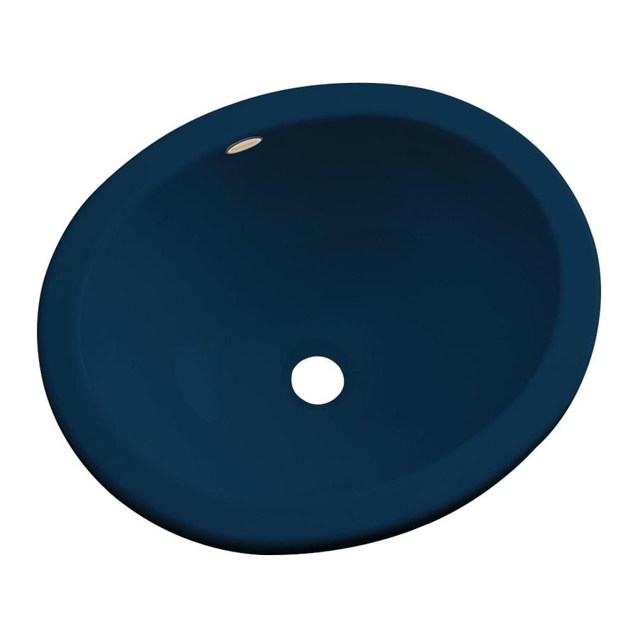 Dekor Victoria Navy Blue Composite Undermount Oval Bathroom Sink with Overflow