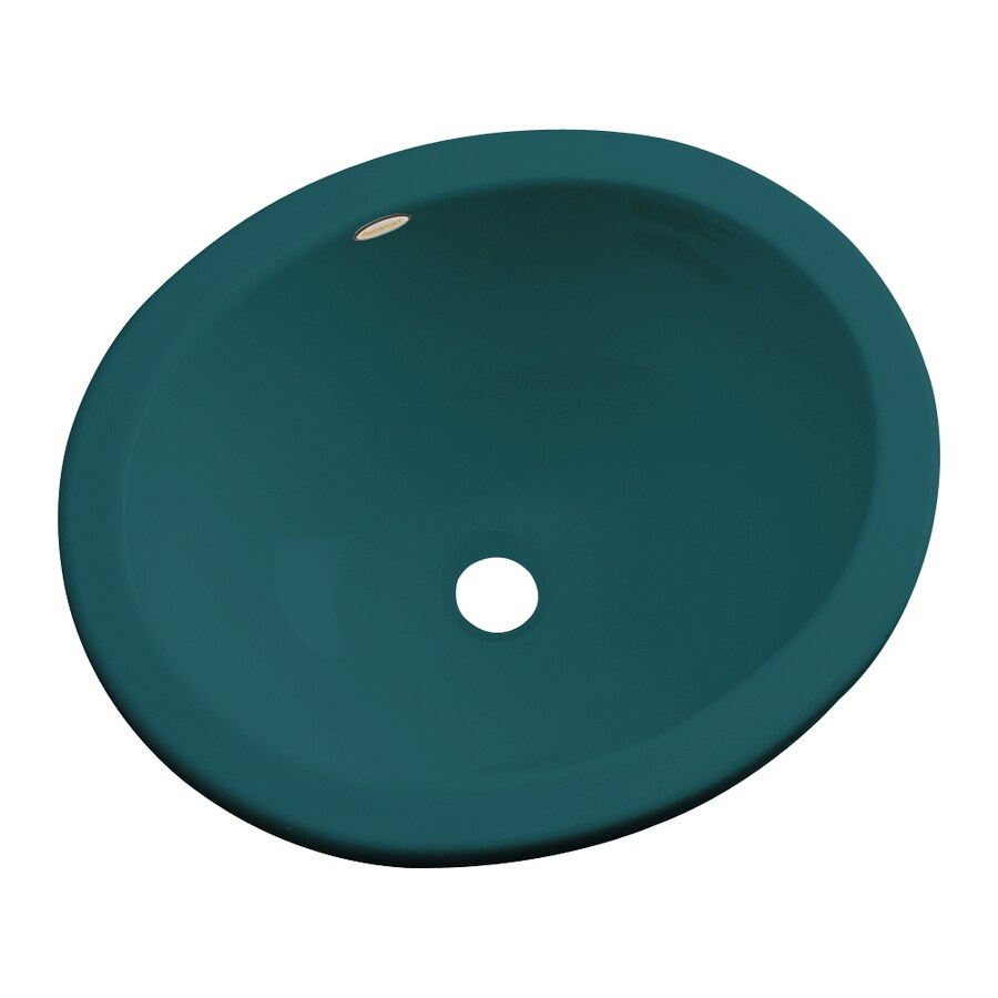 Dekor Victoria Teal Composite Undermount Oval Bathroom Sink with Overflow