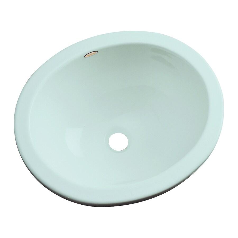 Dekor Victoria Seafoam Composite Undermount Oval Bathroom Sink with Overflow