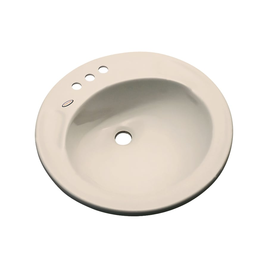 Dekor Woodcrest Candlelight Composite Drop-In Round Bathroom Sink with Overflow