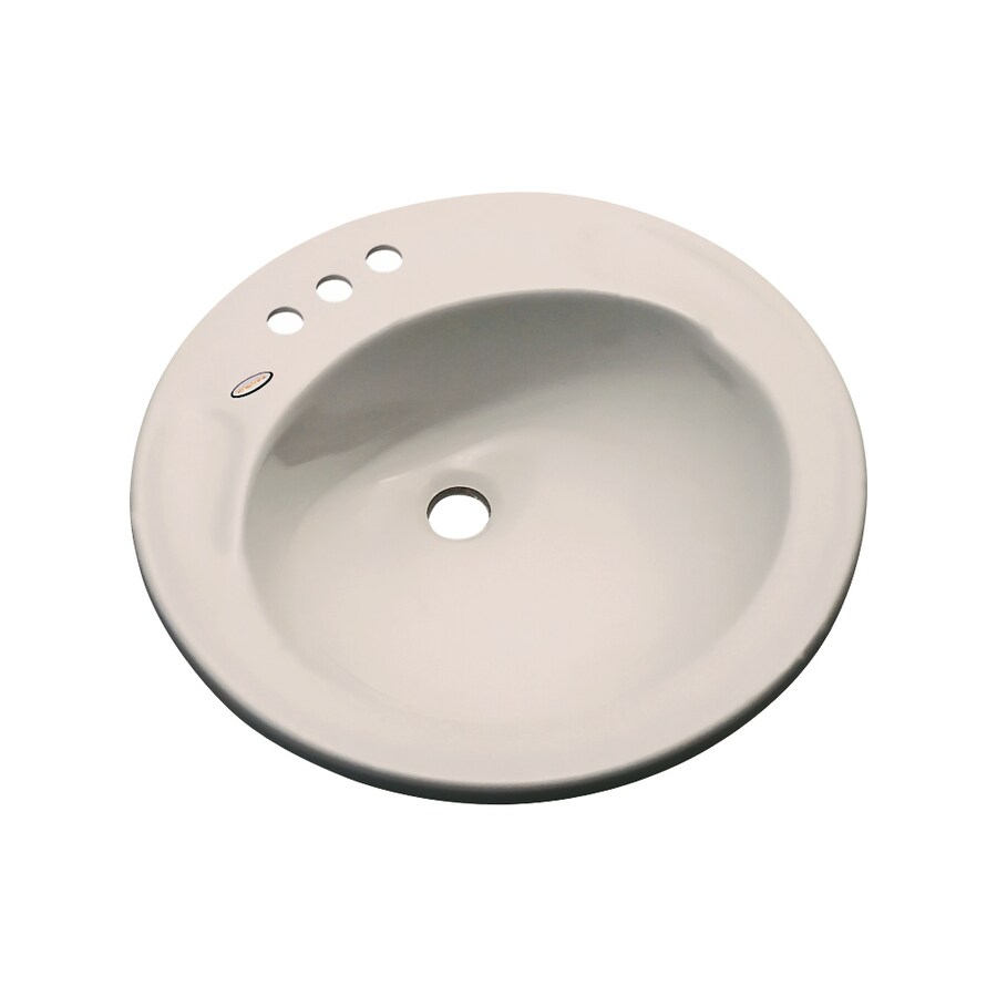 Dekor Woodcrest Shell Composite Drop-In Round Bathroom Sink with Overflow