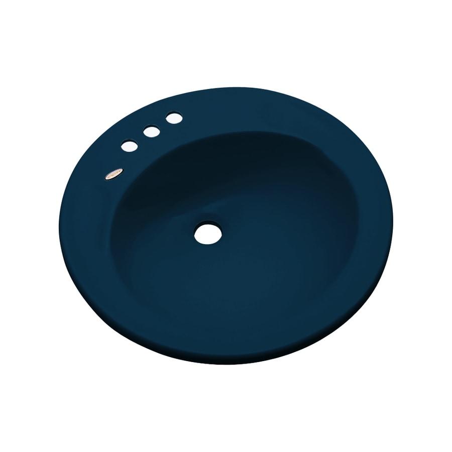 Dekor Woodcrest Navy Blue Composite Drop-In Round Bathroom Sink with Overflow
