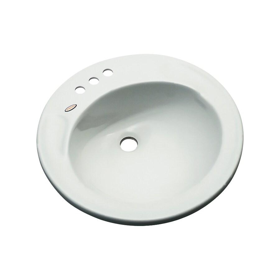 Dekor Woodcrest Ice Gray Composite Drop-In Round Bathroom Sink with Overflow