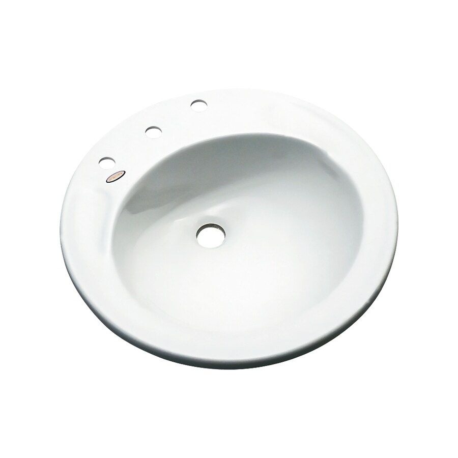 Dekor Woodcrest White Composite Drop-In Round Bathroom Sink with Overflow