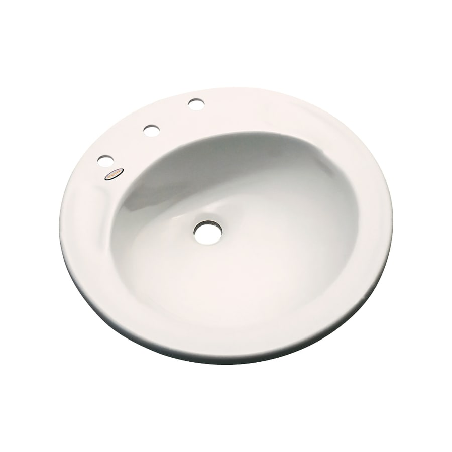 Dekor Woodcrest Bone Composite Drop-In Round Bathroom Sink with Overflow