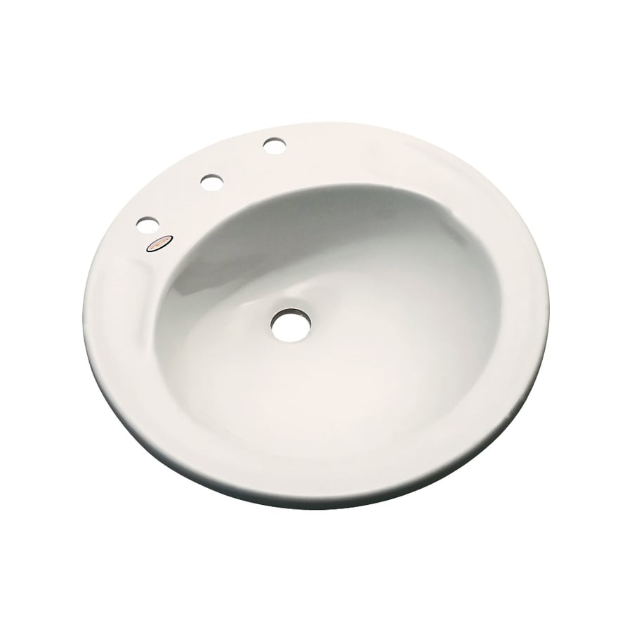 Dekor Woodcrest Almond Composite Drop-In Round Bathroom Sink with Overflow