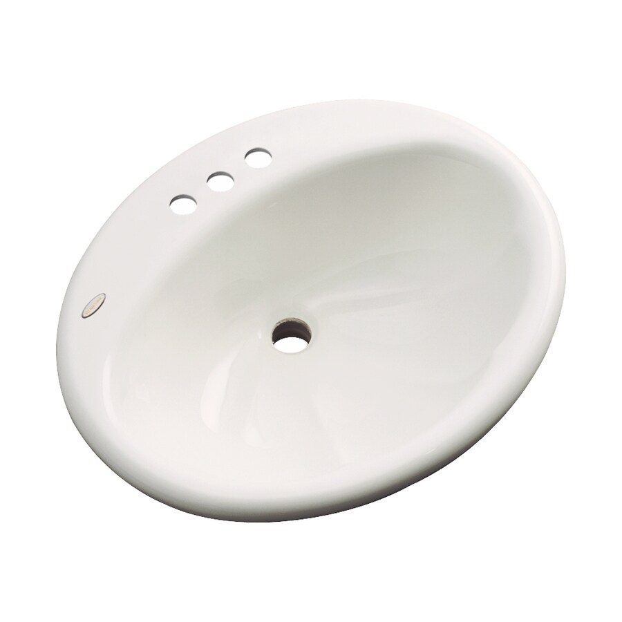 Dekor Seaside Biscuit Composite Drop-In Oval Bathroom Sink with Overflow