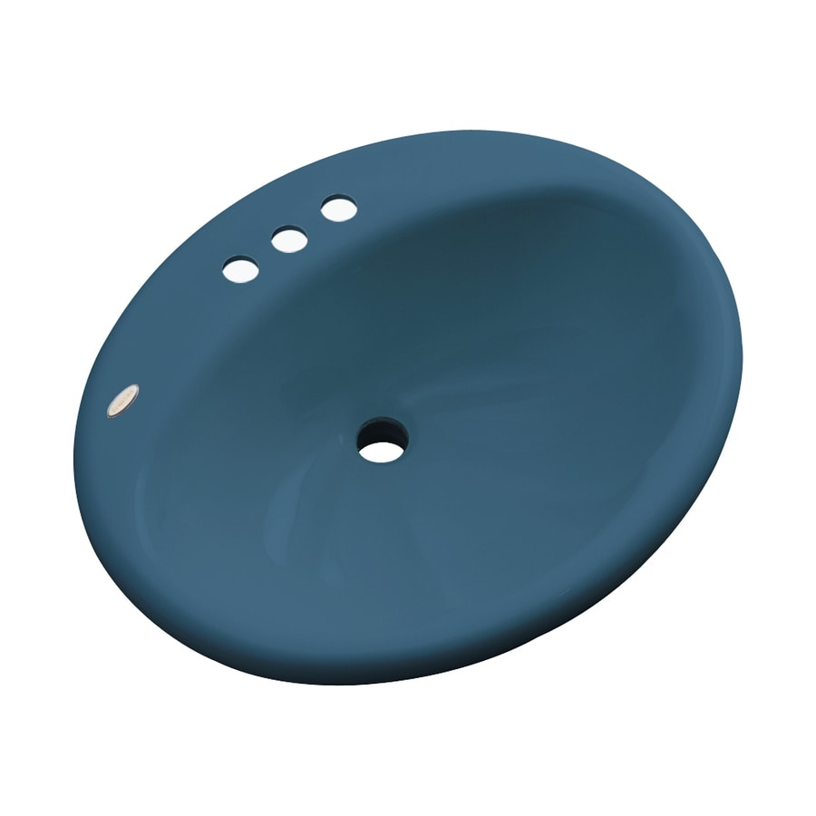 Dekor Seaside Rhapsody Blue Composite Drop-In Oval Bathroom Sink with Overflow