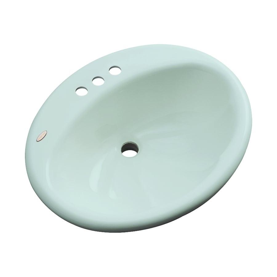 Dekor Seaside Seafoam Composite Drop-In Oval Bathroom Sink with Overflow