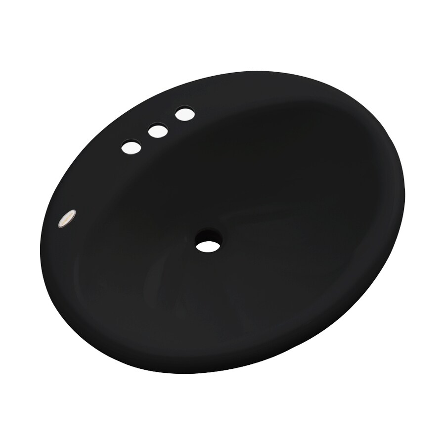 Dekor Seaside Black Composite Drop-In Oval Bathroom Sink with Overflow