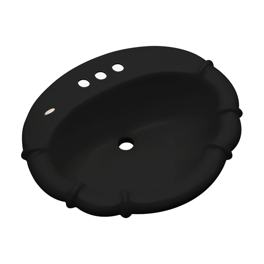 Dekor Montrose Black Composite Drop-In Oval Bathroom Sink with Overflow