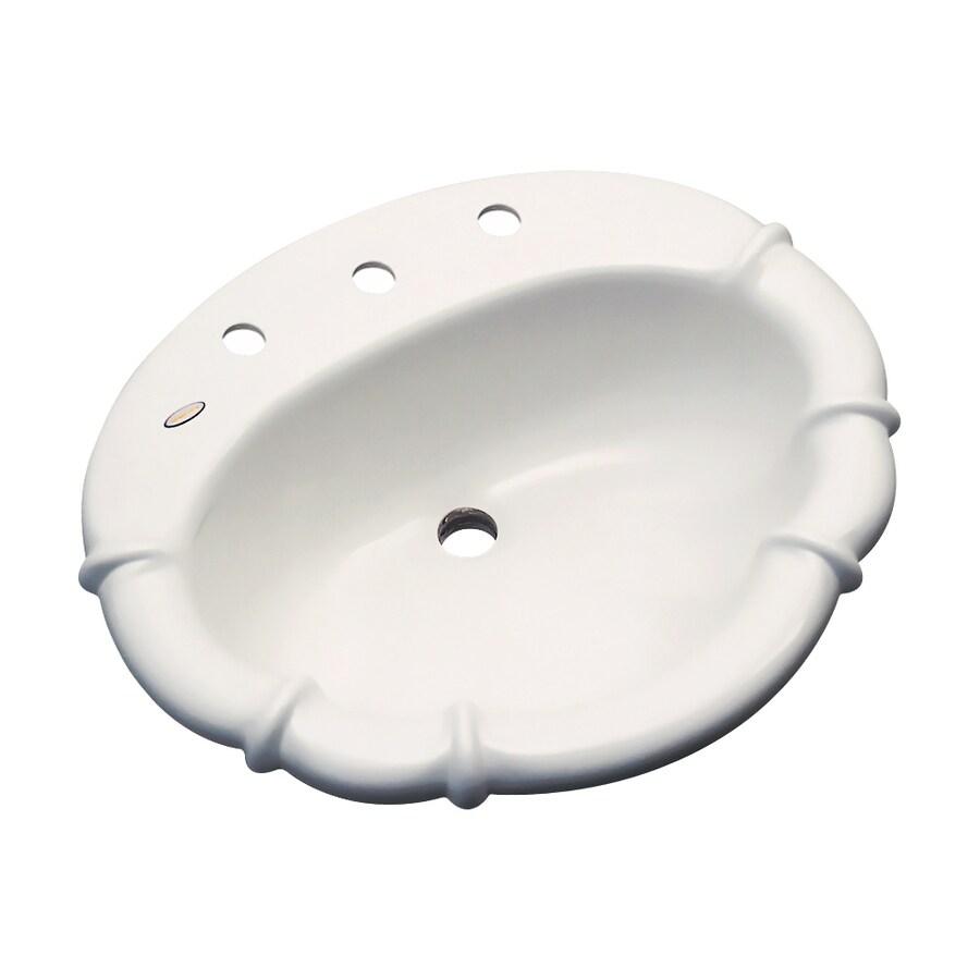 Dekor Montrose Biscuit Composite Drop-In Oval Bathroom Sink with Overflow