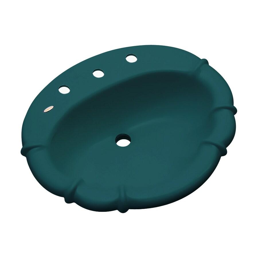 Attirant Dekor Montrose Teal Composite Drop In Oval Bathroom Sink With Overflow