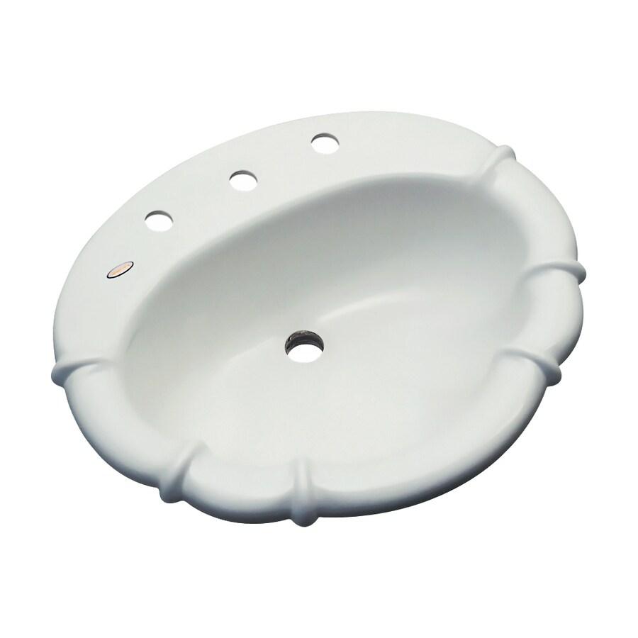 Dekor Montrose Ice Gray Composite Drop-In Oval Bathroom Sink with Overflow