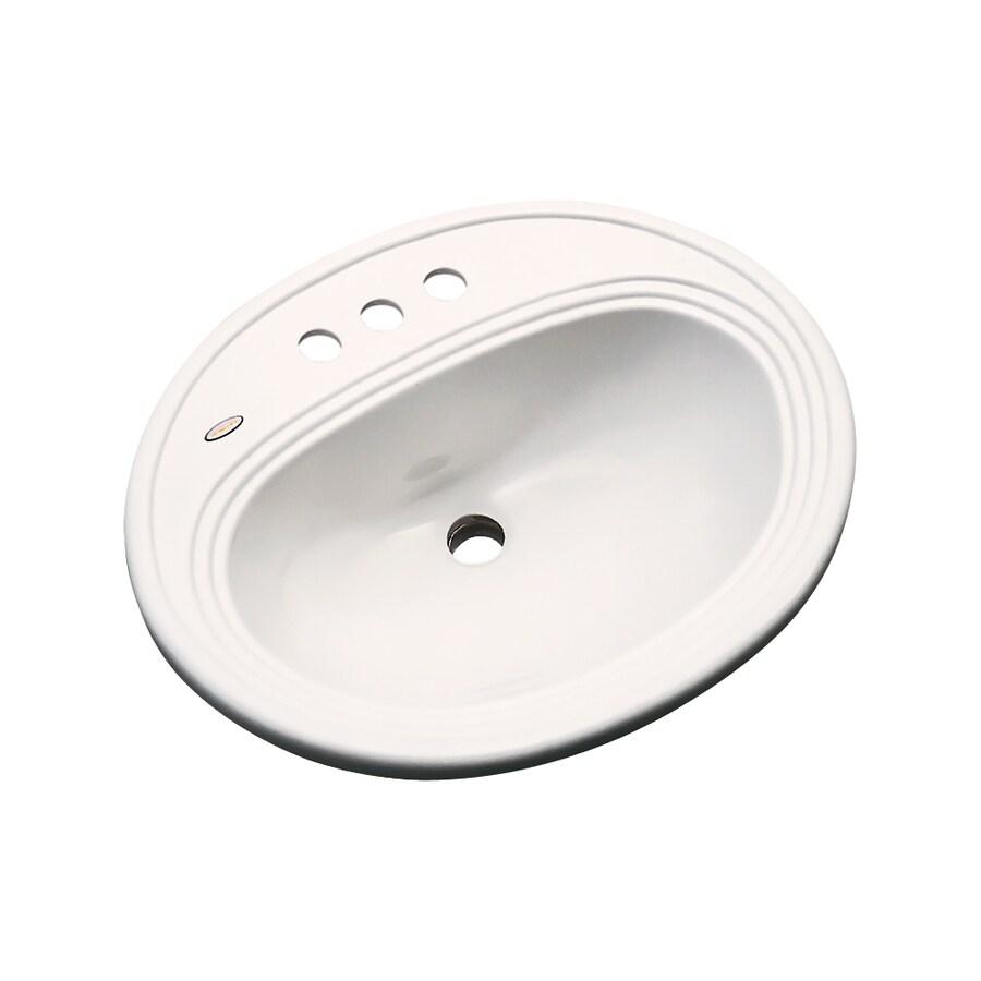 Dekor Vail Bone Composite Drop-In Oval Bathroom Sink with Overflow