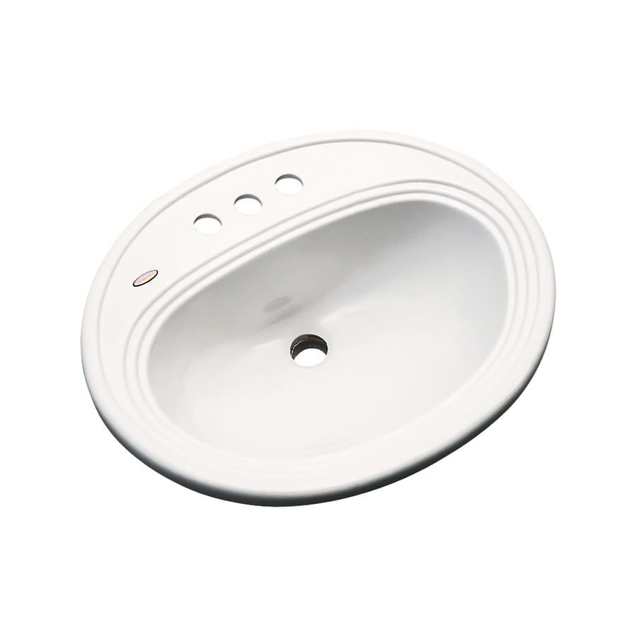 Dekor Vail Biscuit Composite Drop-In Oval Bathroom Sink with Overflow