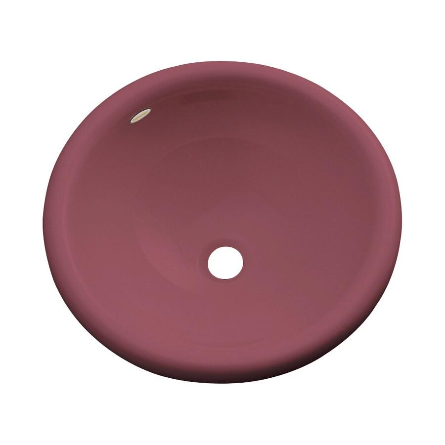 Dekor Biscayne Raspberry Puree Composite Drop-In Round Bathroom Sink with Overflow
