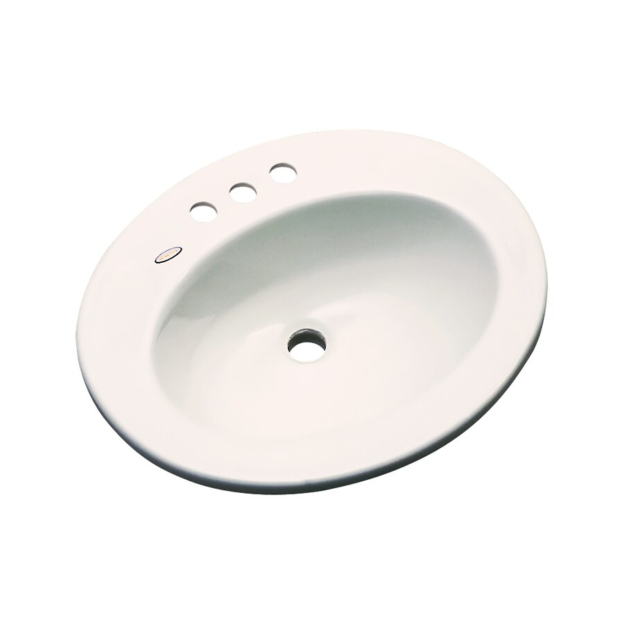 Dekor Belmont Bone Composite Drop-In Oval Bathroom Sink with Overflow