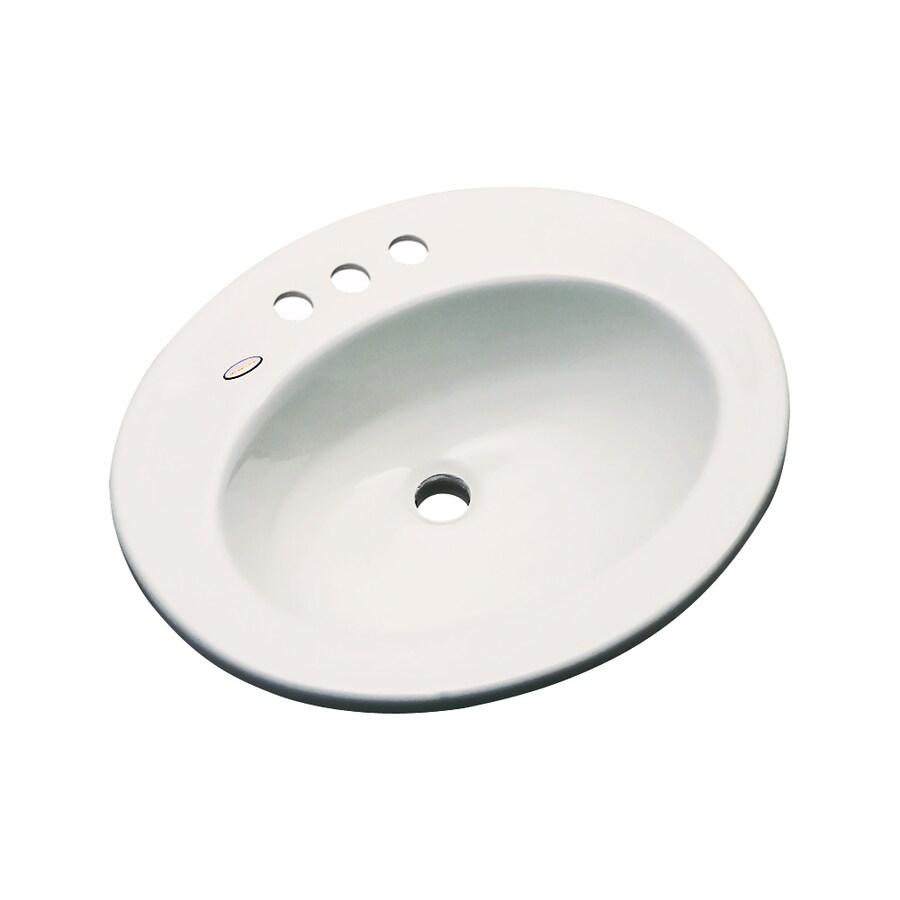 Dekor Belmont Almond Composite Drop-In Oval Bathroom Sink with Overflow