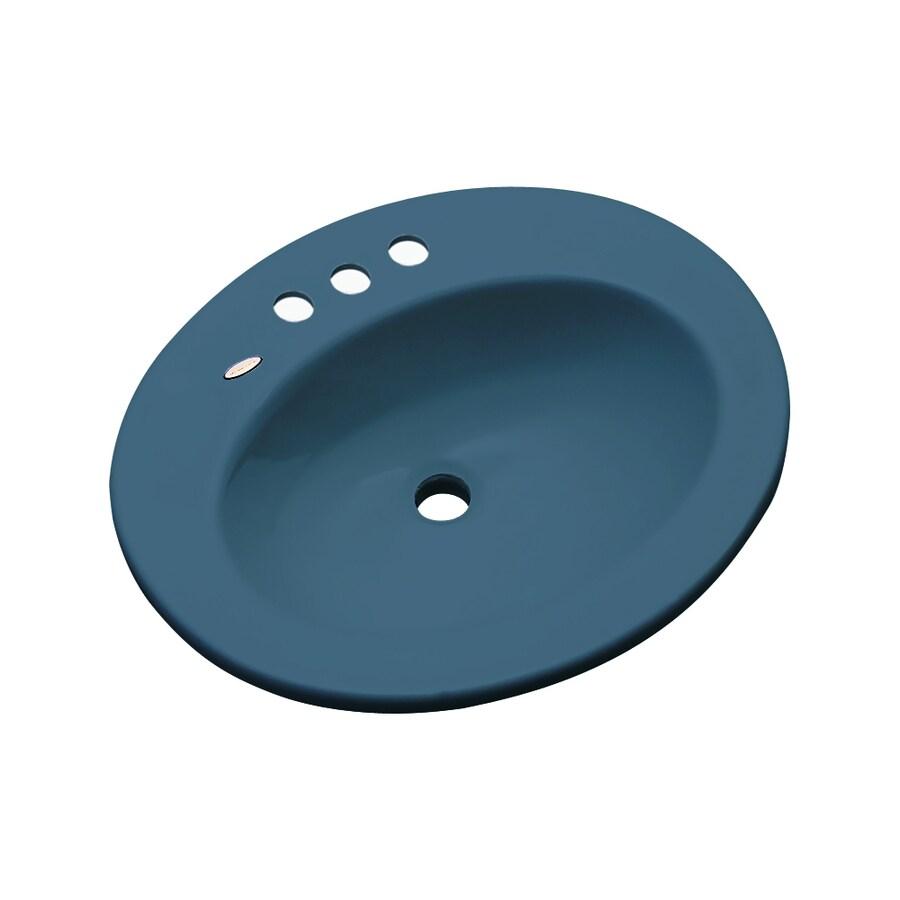 Dekor Belmont Rhapsody Blue Composite Drop-In Oval Bathroom Sink with Overflow