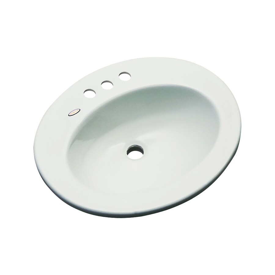 Dekor Belmont Ice Gray Composite Drop-In Oval Bathroom Sink with Overflow