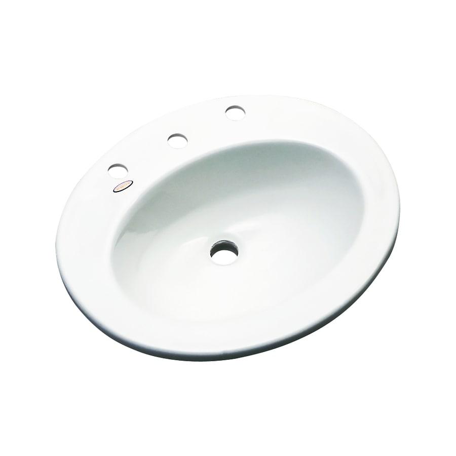 Dekor Belmont White Composite Drop-In Oval Bathroom Sink with Overflow