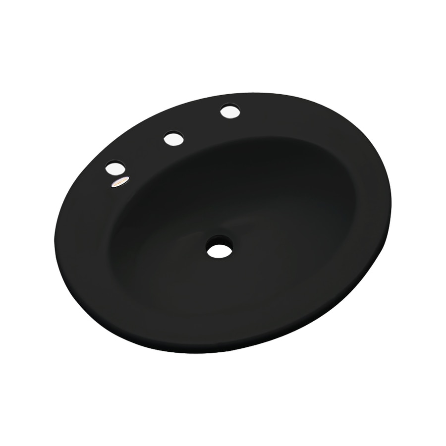 Dekor Belmont Black Composite Drop-In Oval Bathroom Sink with Overflow