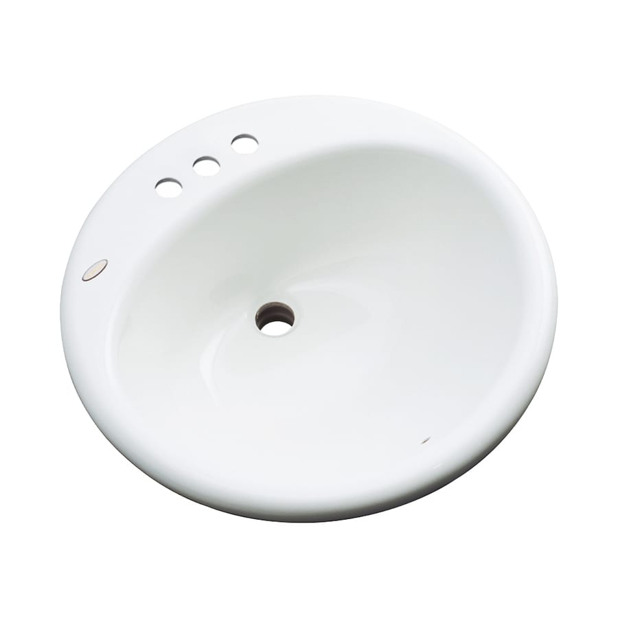 Dekor Newbury White Composite Drop-In Round Bathroom Sink with Overflow