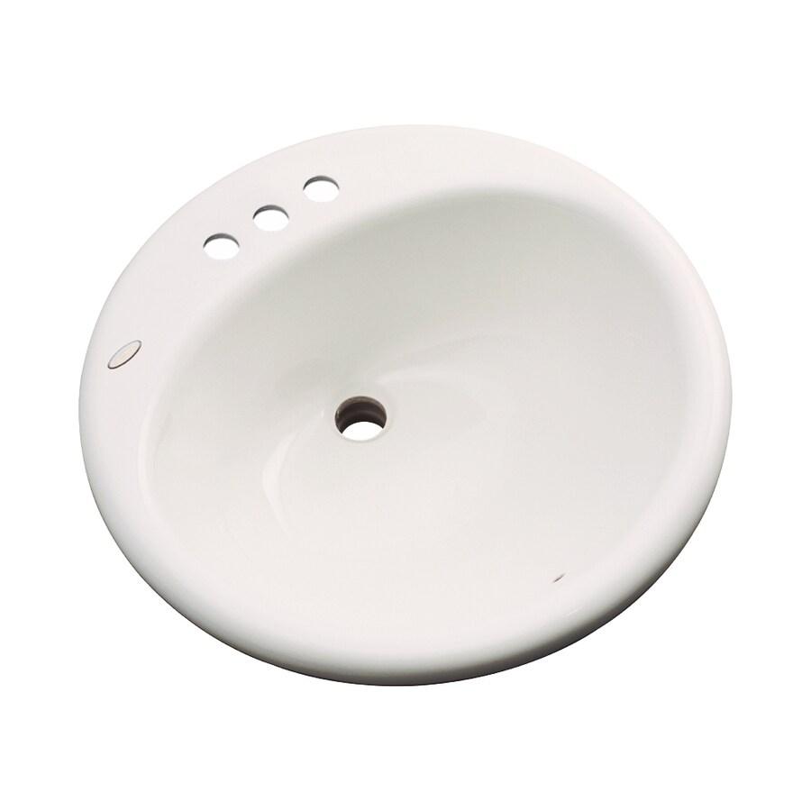 Dekor Newbury Bone Composite Drop-In Round Bathroom Sink with Overflow