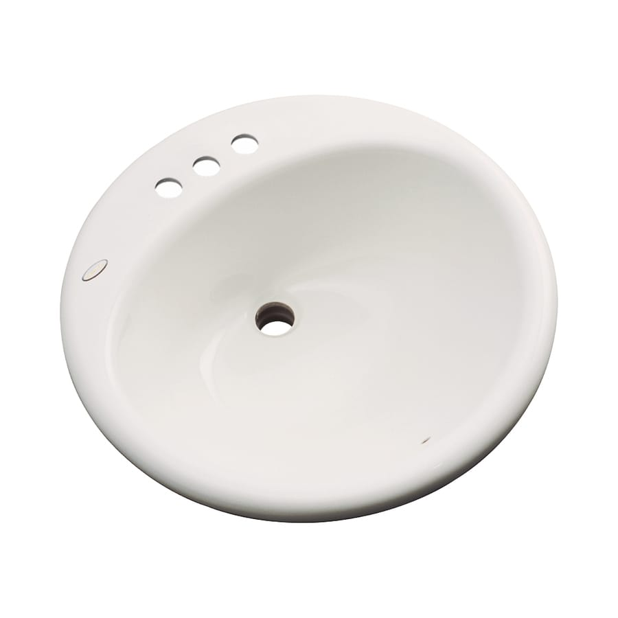 Dekor Newbury Almond Composite Drop-In Round Bathroom Sink with Overflow