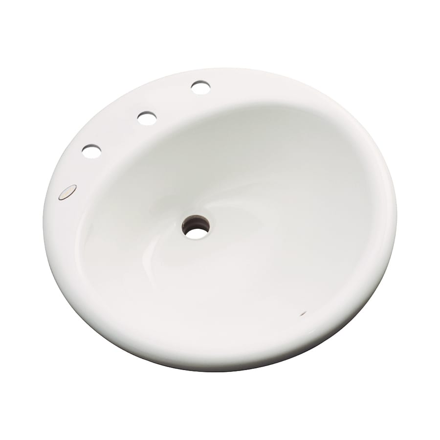 Dekor Newbury Biscuit Composite Drop-In Round Bathroom Sink with Overflow