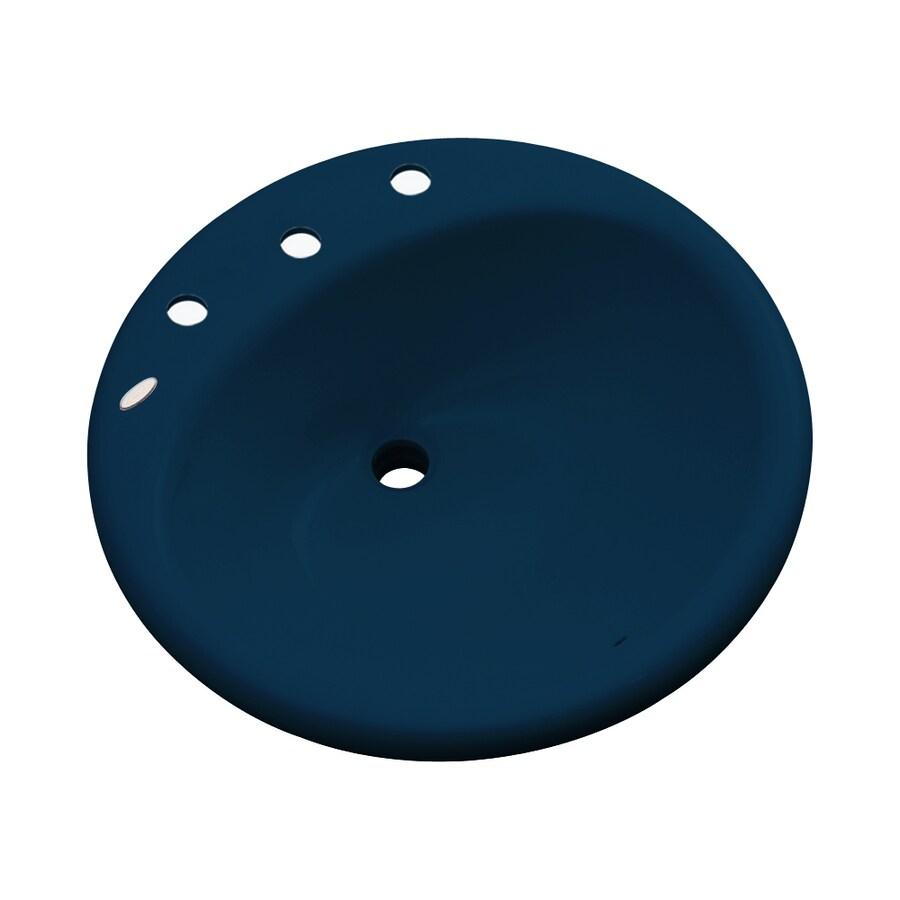 Dekor Newbury Navy Blue Composite Drop-In Round Bathroom Sink with Overflow