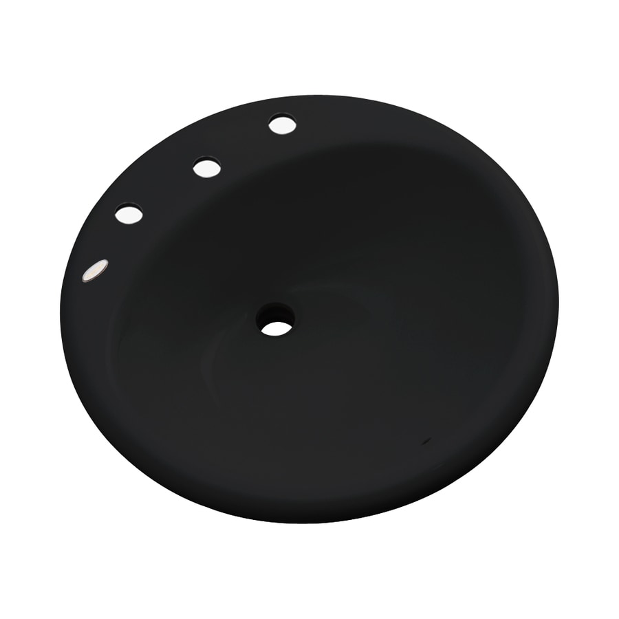 Dekor Newbury Black Composite Drop-In Round Bathroom Sink with Overflow