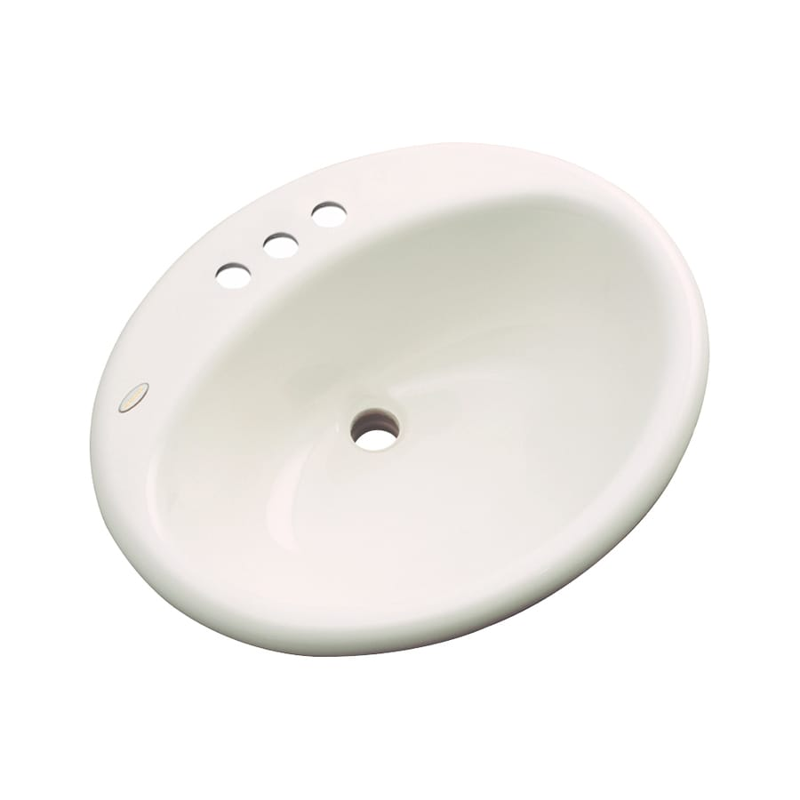 Dekor Caribou Bone Composite Drop-In Oval Bathroom Sink with Overflow